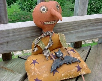 PATTERN...Batty Pumpkin Head Doll