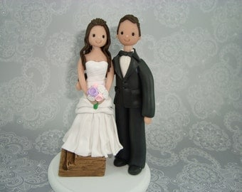 Custom Short Bride & Groom Wedding Cake Topper