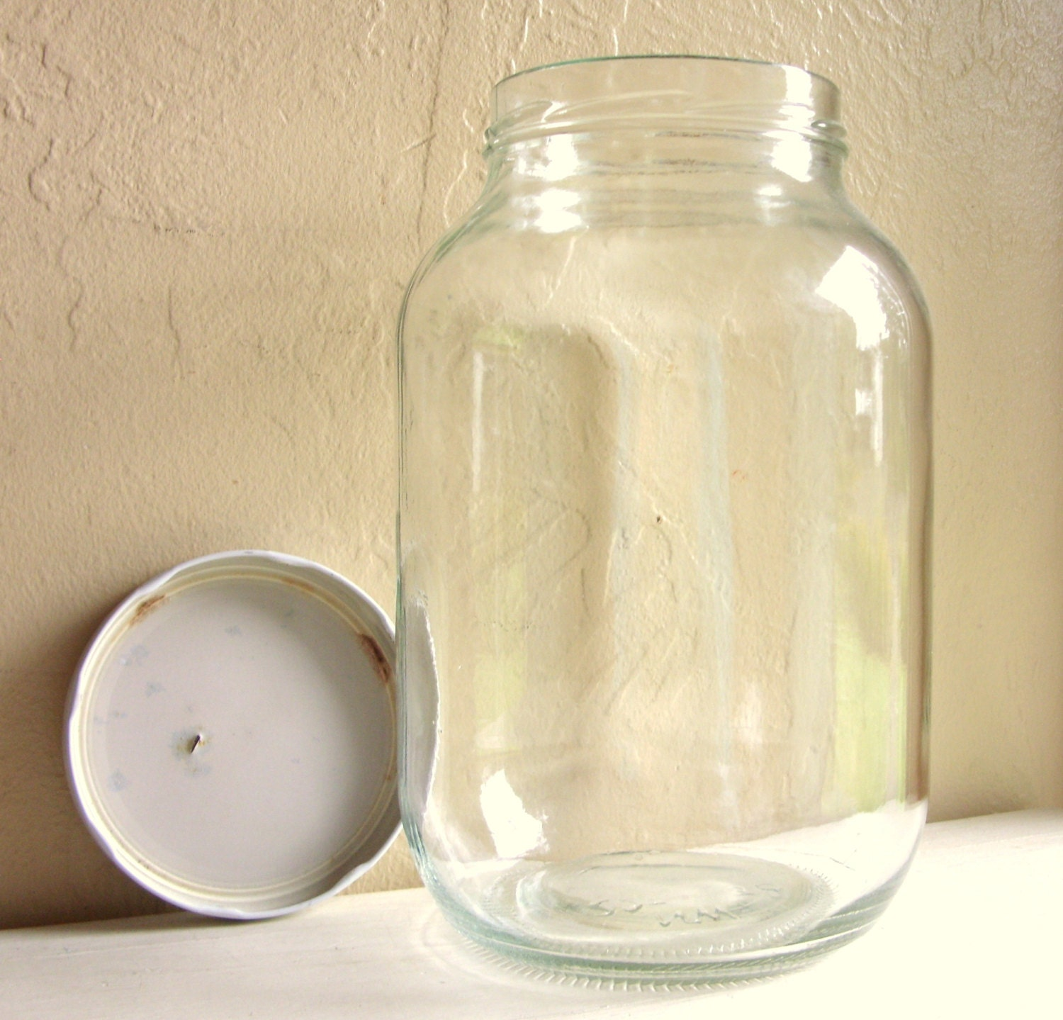 extra large vintage glass jar with white metal lid. Black Bedroom Furniture Sets. Home Design Ideas