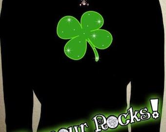 Saint Patricks Day Clover Irish Shamrock Rhinestone Crystal Long Sleeve T Tee Shirt Top bling