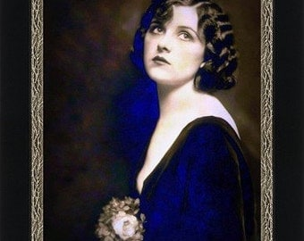 Beautiful Woman with Nosegay circa 1925 -  Giclee Fine Art Print of Enhanced Vintage Photo