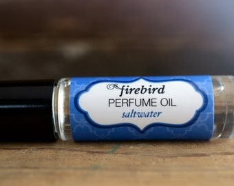 Saltwater Perfume Oil, Ocean Water, Salt Air, Driftwood, Roll On Perfume - Summer Outdoors - Beach Perfume