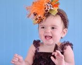 Fall Thanksgiving Giraffe Orange Yellow Green Over The Top Funky Birthday Boutique Hair Bow on matching Headband
