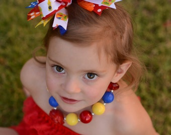 Back to School Crayon Rainbow Over The Top Boutique Hair  Bow Free Shipping On All Addional Items