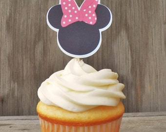 Minnie Mouse Party - Set of 12 Pink Polka Minnie Mouse Cupcake Toppers by The Birthday House