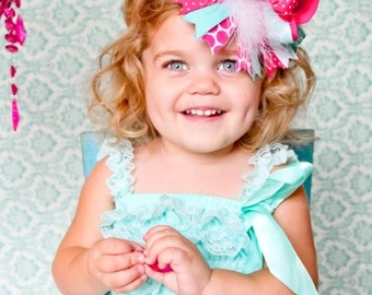 Cotton Candy Aqua and Shocking Pink Over the Top Layered Hair Bow Clip or Headband EXTRA FULL