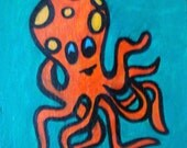 Octopus painting, modern, funky, abstract, Olly was painted on an 8 X 6 canvas, ready to hang