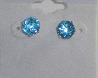 Lovely Swiss Blue 7mm Topaz Stud Earrings Sterling Silver