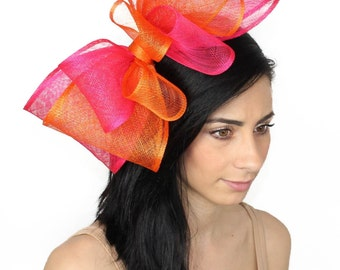 Orange and Fuchsia 12 Inch Cliverina Fascinator Hat for Kentucky Derby, Weddings With Headband