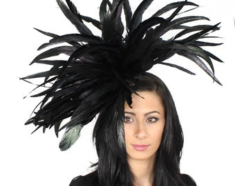 Black  Facinator Hat for Kentucky Derby, Weddings and Parties on a Headband