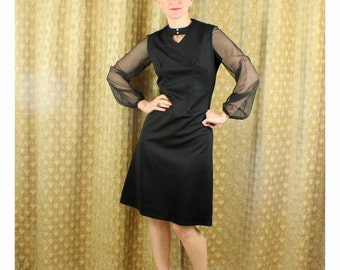 60's Dress Black Sheer Sleeve Dress Night Out