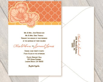Poppy Custom Invitations, Wedding, Party, Birthday, Anniversary, Retirement Peach Orange