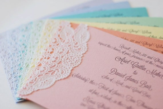 Items similar to custom pastel and lace doily invitations for Etsy engagement party invites