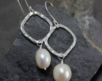 Hammered Sterling Squares with Large Fresh Water Pearls