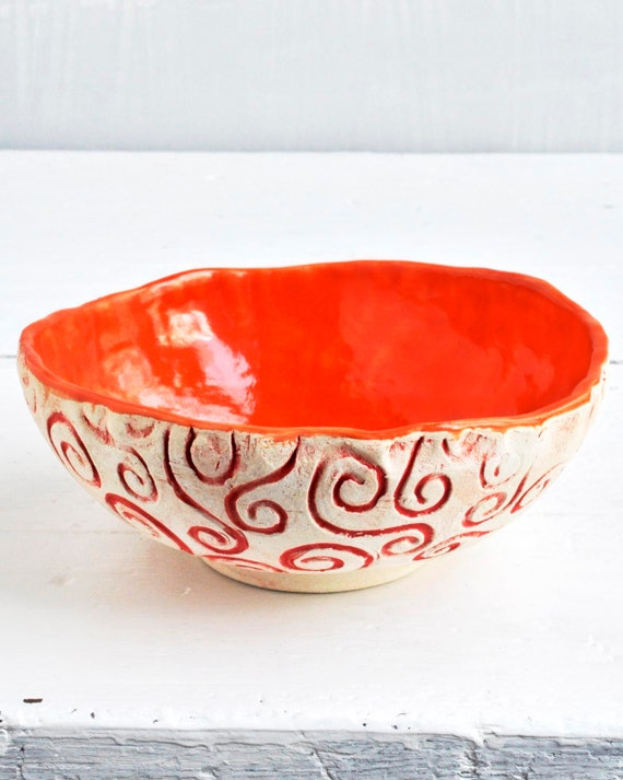 ceramic serving Bowl or planter in Neon Orange andRed