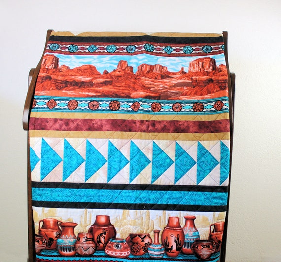 Monument Valley Lap Quilt, Southwest Pottery in Turquoise and Brown, Masculine