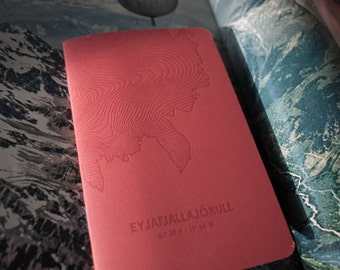 Eyjafjallajökull Glacier Letterpress Notebook Red - Pack of 3