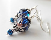 Sapphire Blue Bridesmaid Earrings, Swarovski Crystallized Elements Crystal Dangles, Beaded Earrings, Bridal Party Jewelry, Horizon Wedding