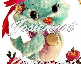 Vintage Digital Download Fuzzy Bird with Hat Vintage Image Collage Large JPG