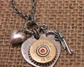 Shotgun Casing Jewelry - Shot Through the Heart - Silver Heart Pendant w/ Winchester 28 Gauge Shotgun Shell, Gun & Heart Charm