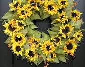 Wreath, XXL Summer Wreath, Sunflower Bouquet,Summer Celebration,Door Wreath, Shabby Chic Decor, Country French, Mother's Day Gifts