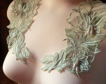 Green Willow Beaded Applique PAIR for Lyrical Dance, Costume Design, Garments  PR 30sage
