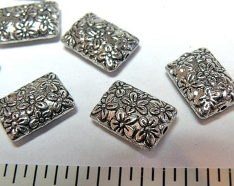 12 Pewter Rectangular Floral Pillow Beads