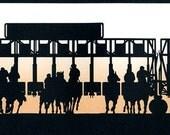Horse Racing Starting Gate Hand-Cut Papercut