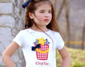 Personalized Patriotic Star Bucket, Beach Bucket,  Shirt or One Piece Bodysuit-4th of July or Summer Embroidered Shirt, LDM