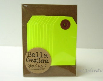 10 Neon Yellow Gift Tags - Parcel Tags