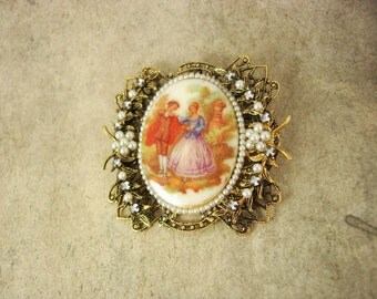 Large vintage Victorian cameo  Portrait Jeweled brooch Hand wired pearls and rhinestones