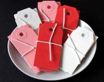 30 Mini Parcel Shipping Tags . Valentine Mix . 2 3/4 x 1 3/8