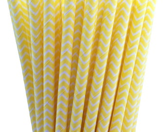 25 Yellow Chevron Stripe Paper Straws with Printable Party Flags PDF File