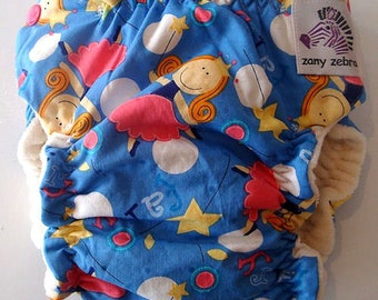 Fitted Cloth Diaper - Medium - Fairy Fun - Free US Shipping