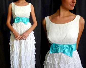 Vintage 60s Empire Waist White Ruffled Lace Wedding Dress w Turquoise Satin Sash MEDIUM