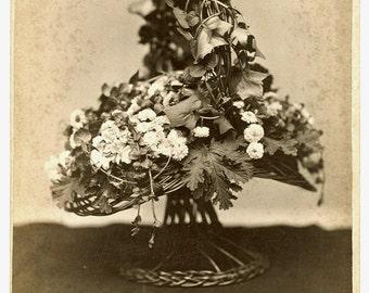 Mourning Memorial - Floral Wicker Basket - Antique Cabinet Card