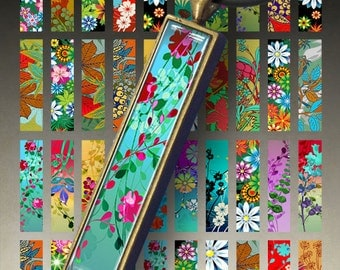 Printable THE BLOOMING GARDEN 0.5 x3 inch size images for 12x53 mm rectangle bezel pendant trays Digital Collage Sheet ArtCult Graphics