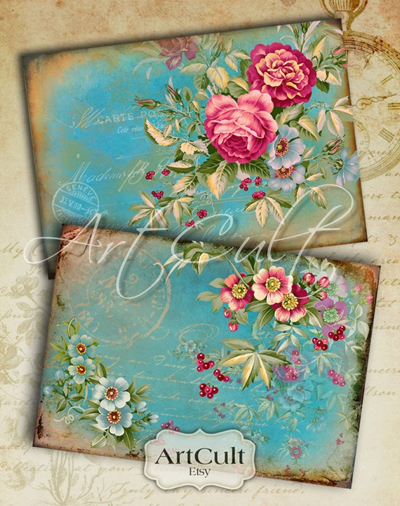 5x3.5 inch size images ENGLISH GARDEN Printable Digital Collage Sheet Greeting Cards Vintage Victorian scrapbooking Paper goods by ArtCult