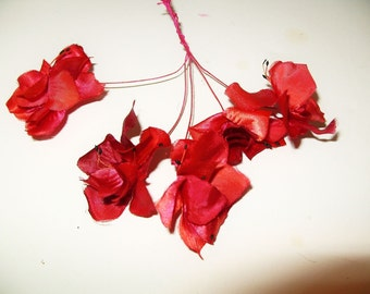 Vintage Red Millinery Flowers satin 1950's Hat Trim fabric floral supplies