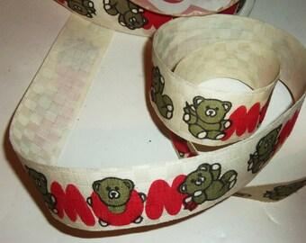 Mom Teddy Bears Fabric Ribbon 1970's Vintage WFR 10 yard LOT sewing or craft supplies