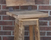 "YOUR Custom Reclaimed Rustic Swivel Oak Barn Wood and Metal 24"" - 36"" Top Bar Stool with Backs FREE SHIPPING - SBSSB170F"