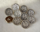 10 Silver Metal Picture Buttons with a China Man