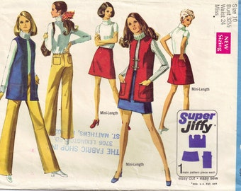 Vintage 60s Hipster Mini Skirt Hiphugger Pants and Vest Misses Simplicity 8411 Sewing Pattern Size 10 Bust 32 1/2