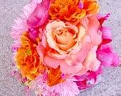 Coral Pink Bridal Bouquet, Orange Wedding Flowers Crystals