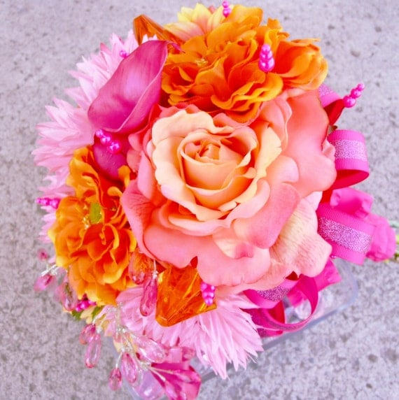 Items Similar To Coral Pink Bridal Bouquet, Orange Wedding