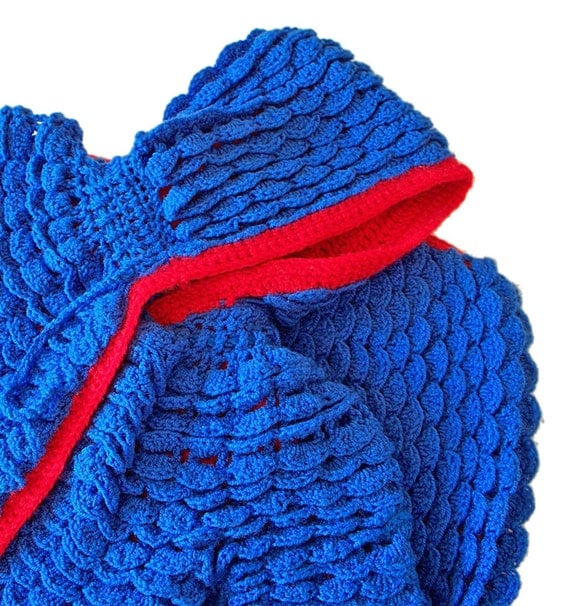 Blue Baby Jacket with Hood, Crochet Blue and Red, Lap Blanket