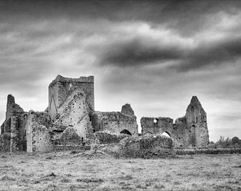 Hore Abbey, The Rock of Cashel, Ireland Photography, Medieval Art, Religious Wall Art,Black and White Prints,Landscape Print,Dramatic Clouds