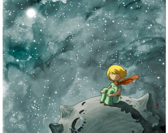 8x10 - the Little Prince - Fine Art color archival print - Beautiful Space Painting