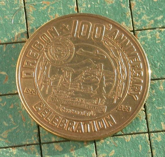 Oregon State Centennial coin, 1959,  Klamath County, vintage token