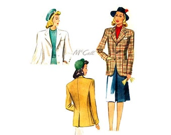 1940s Womens Blazer Pattern McCall 4065, Tailored Suit Jacket with Notched Collar & Pockets, Bust 34, 40s Vintage Sewing Pattern